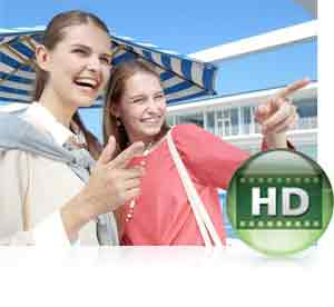 Nikon COOLPIX S3700 photo of two woman laughing and the HD video icon inset, showing video capabilities