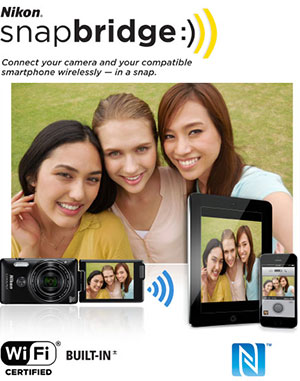 Photo of three women taking a selfie, using the S6900, along with the snapbridge logo and tablet and smartphone