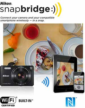 Nikon COOLPIX S7000 photo of a plate of food, and the image on a tablet and phone and snapbridge logo