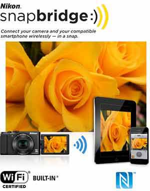 Photo of yellow roses shot with the S9900, along with the snapbridge logo and tablet and smart phone