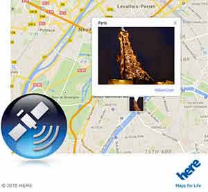Nikon COOLPIX S9900 photo of the Eiffel tower at night on a map showing GPS recording feature