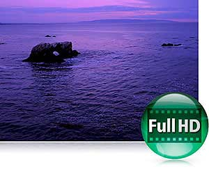 Photo of a seascape in low light, and the Full HD icon showing the COOLPIX P7800's video capabilities