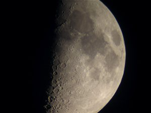 Moon as seen at 100X, shot with powershot camera.