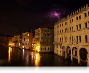 COOLPIX P7700 low-light performance photo of Venice buildings