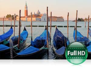 COOLPIX P7700 photo of blue covered gondolas in Venice and Full HD video icon