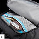 Stash pocket and hood of the Thule EnRoute Mosey Daypack