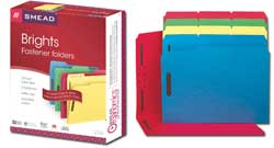 Smead Fastener Folders with Reinforced Tab in Assorted Colors 11975