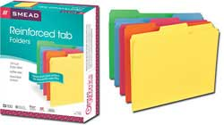 Reinforced 1/3-Cut Top Tab File Folders in Assorted Colors (Letter) 11993