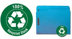 Smead 100% Recycled Fastener Folders with Reinforced Tab in Blue 12041