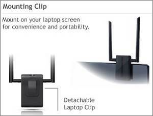 ACA1 High Power AC Wi-Fi Adapter Includes a monitor mounting clip
