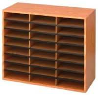 Safco Products Woodcorrugated Literature Organizer 24 Compartment 9402mo Medium Oak Economical Organization Letter Size Compartments