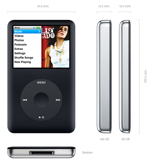 apple ipod classic 80gb black 6th generation. Black Bedroom Furniture Sets. Home Design Ideas
