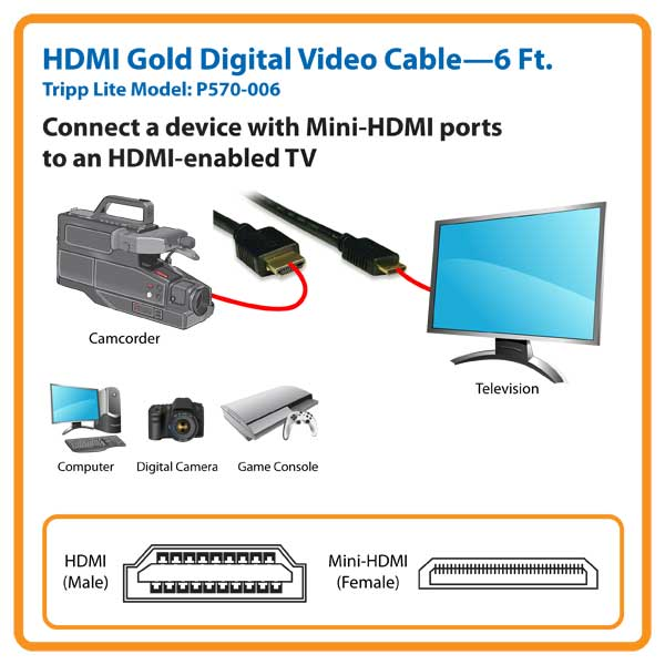 P570-006 6 feet HDMI to mini-HDMI, Digital Audio - Video Cable, 6 feet
