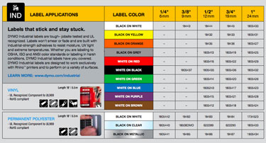 Available DYMO Industrial Labels