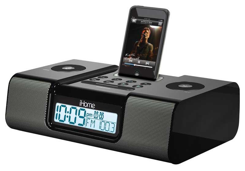 ihome ih9 alarm clock speaker system with dock for ipod black home audio theater. Black Bedroom Furniture Sets. Home Design Ideas