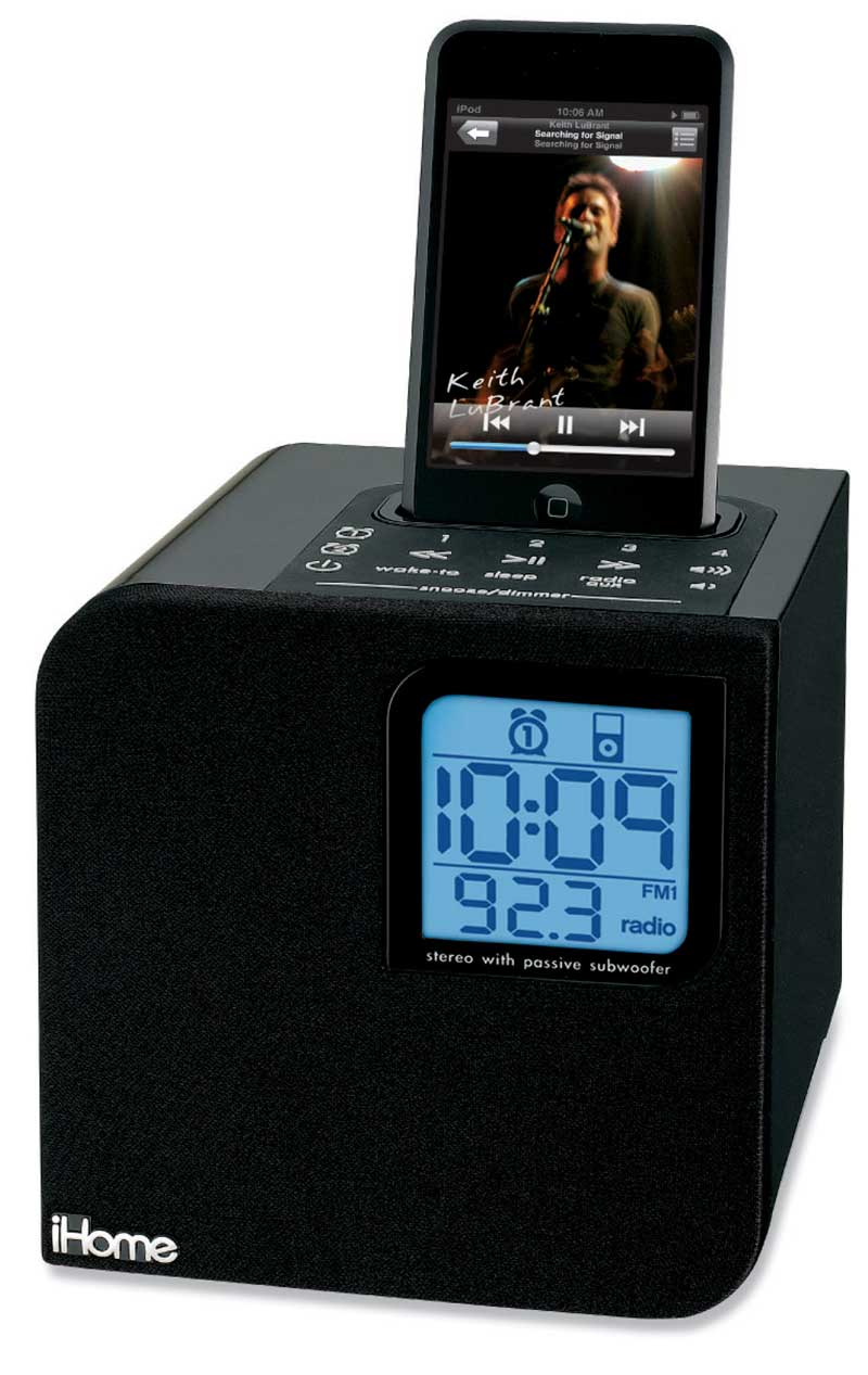 ihome ih12 cube clock radio with dock for ipod black home audio theater. Black Bedroom Furniture Sets. Home Design Ideas