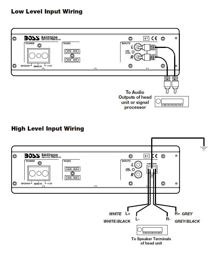 B001DXF990 3 amazon com boss bass1200 10 inch low profile amplified subwoofer high level input wiring diagram at reclaimingppi.co