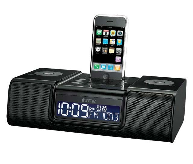 ihome ip9 speaker dock with clock radio for ipod and iphone black home audio. Black Bedroom Furniture Sets. Home Design Ideas