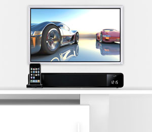 iLive ITP100B Two Channel Bar Speaker System with Docking and Recharging Station for iPhone and iPod Black