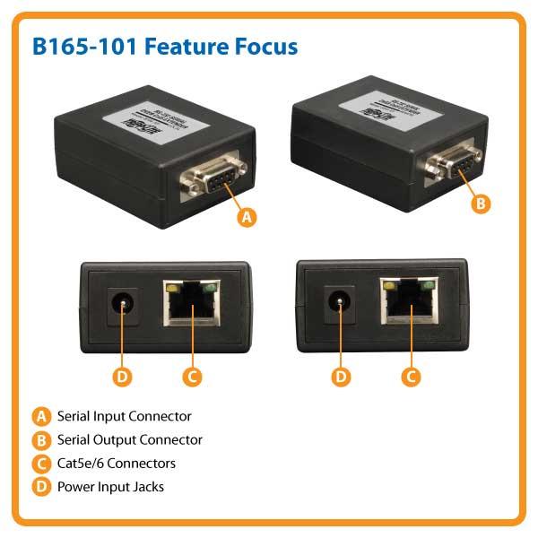 Black Tripp Lite RS-232 B165-101 Serial Over Cat5 Extender Kit