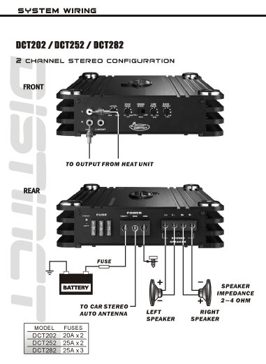 2 channel wiring diagram amazon.com: lanzar dct252 3000 watt 2 channel full fet ... 2 amps 2 subs wiring diagram