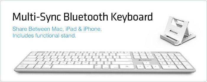 Multi-Sync Keyboard for Mac, iPad, & iPhone + iPhone/iPad Stand