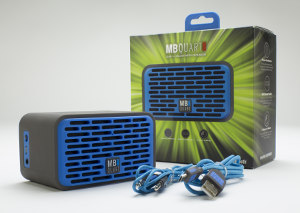 Blue MB Quart QUBThree with packaging includes charge and input jack cables