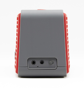 MB Quart QUBFour side view with adapter and input jack in red
