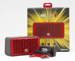 Red MB Quart QUBFour with packaging includes quick charge adapter and input jack cable