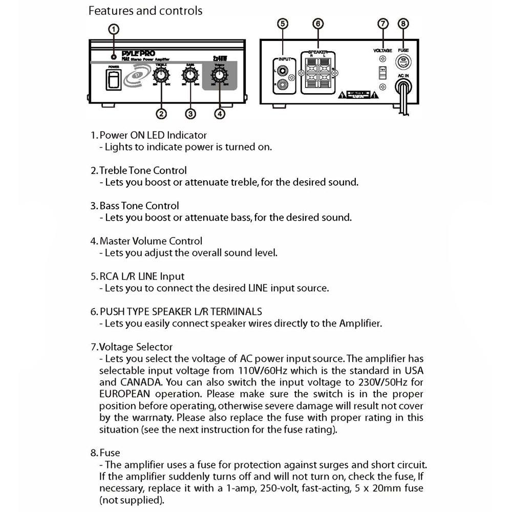 amazon com pyle home pca2 2x40 watt stereo mini power amplifier connection diagram