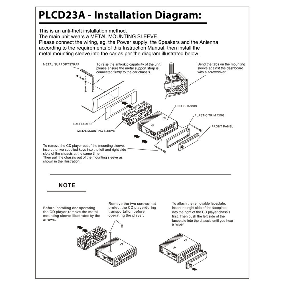 PLCD23A_diagram amazon com pyle plcd23a am fm mpx manual tune radio cd player xo vision xd103 wiring diagram at alyssarenee.co