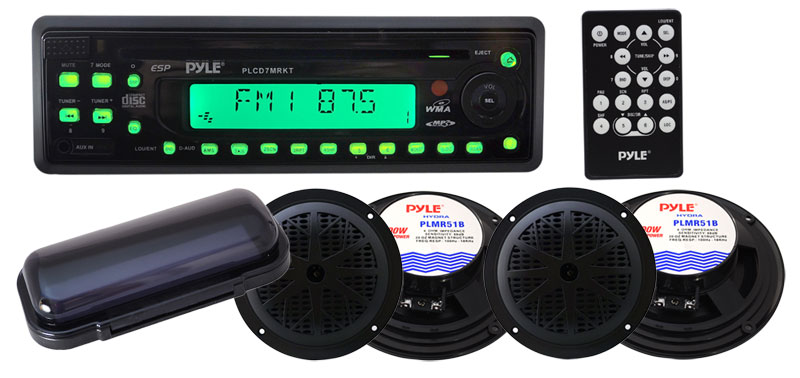 Amazon Com  Pyle Marine Stereo Radio Headunit Receiver  U0026 Speaker Kit  Mp3  Usb  Sd Readers  Cd