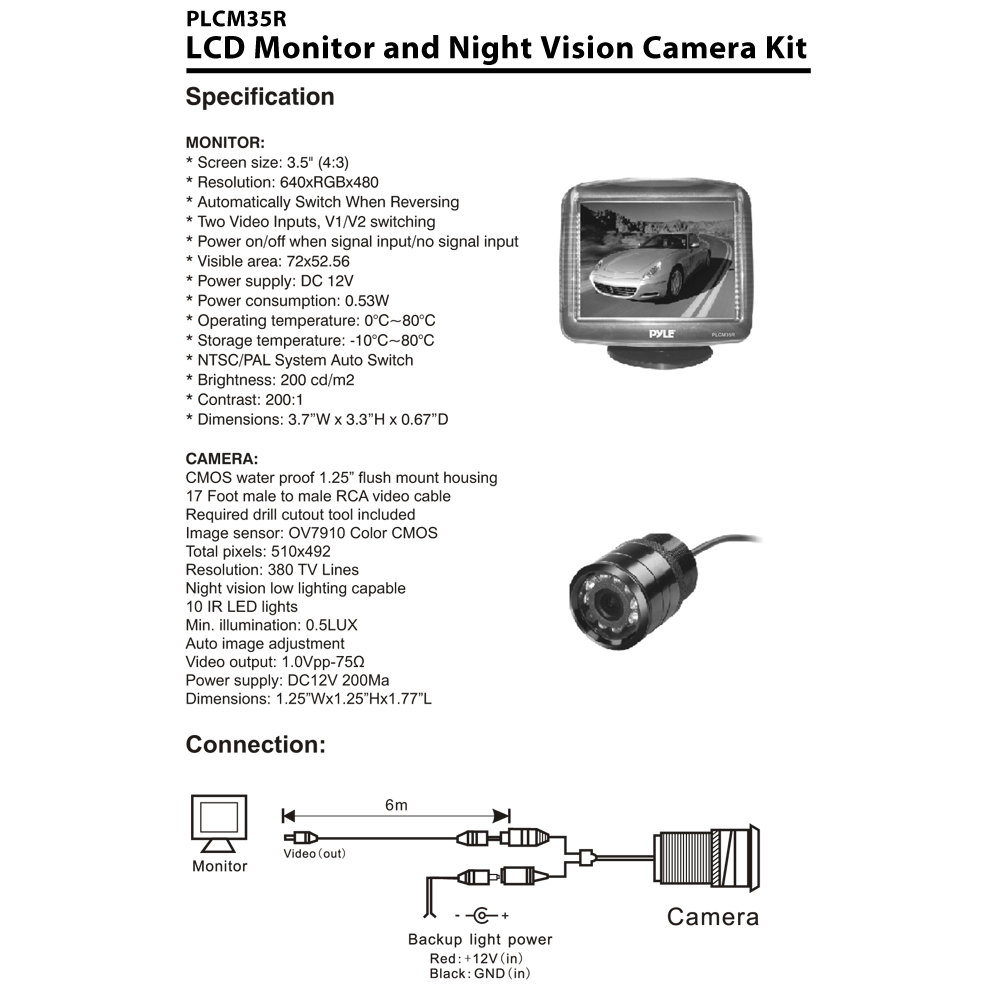 PLCM35R_diagram amazon com pyle plcm35r vehicle rearview backup camera & monitor motorhome reversing camera wiring diagram at n-0.co