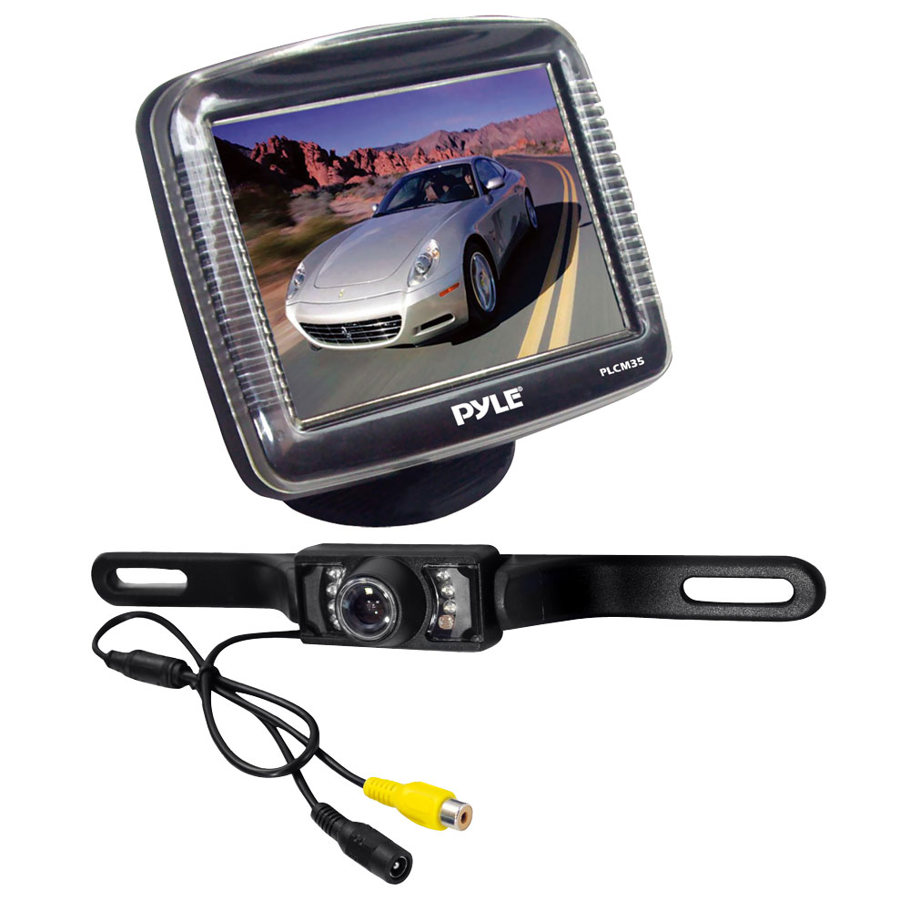 pyle backup rear view car camera monitor screen system kit parking reverse. Black Bedroom Furniture Sets. Home Design Ideas
