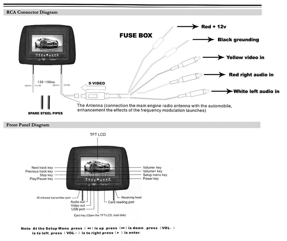 PLD72BK_diagram amazon com pyle pld72bk adjustable headrest w built in 7 inch how to wire headrest dvd player to fuse box at reclaimingppi.co
