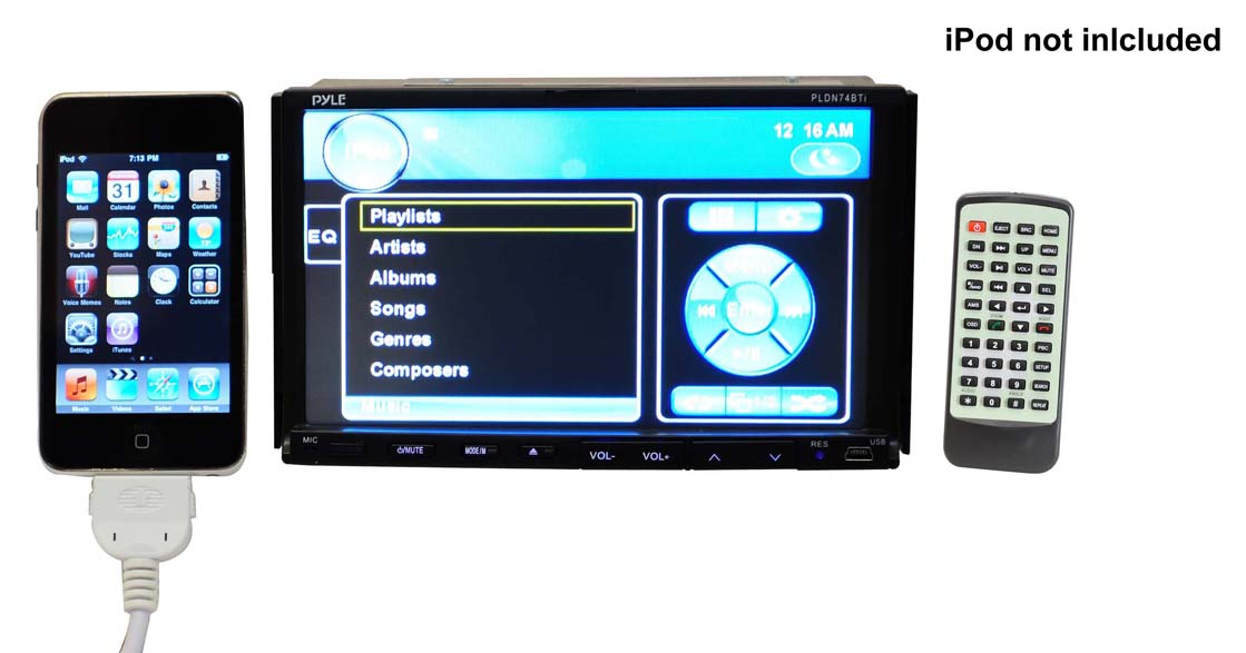 PLDN74BTI UnitLarge amazon com pyle pldn74bti double din tft touchscreen, 7 inch pyle pldnv78i wiring diagram at readyjetset.co