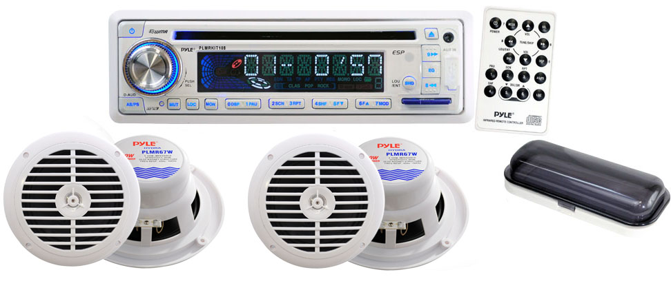 Amazon Com  Pyle Plmrkit108 Complete Marine Water Proof 4 Speaker Cd  Usb  Mp3  Combo With Stereo