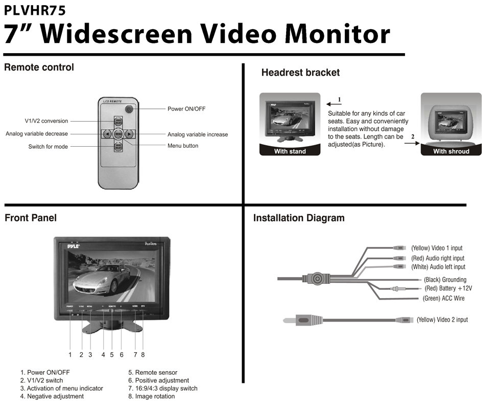 PLVHR75_diagram amazon com pyle plvhr75 7 inch tft widescreen headrest monitor  at panicattacktreatment.co