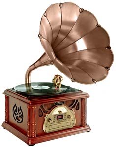 Classical Trumpet Horn Turntable/Phonograph with AM/FM Radio CD/Cassette/USB & Direct to USB Recording