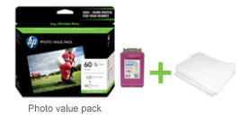 HP Photo Value Packs contain HP ink and HP photo paper