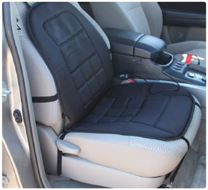 Straps hold the heated seat cushion securely in place