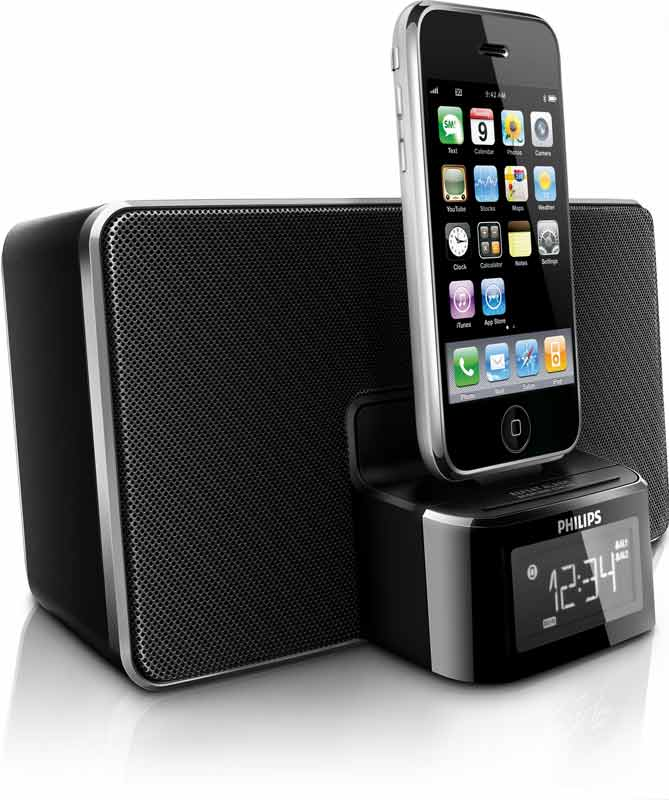 philips dc220 37 30 pin ipod iphone alarm clock speaker dock home audio theater. Black Bedroom Furniture Sets. Home Design Ideas