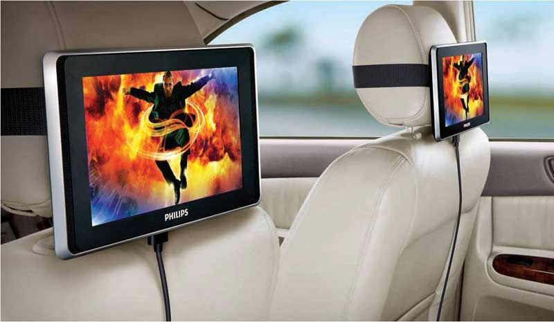 how to put large screen tv in a car