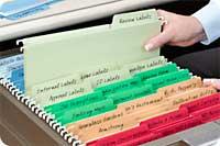 Hanging File Folders in use