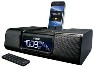 ihome ia9bzc app enhanced 30 pin ipod iphone alarm clock speaker dock black home. Black Bedroom Furniture Sets. Home Design Ideas