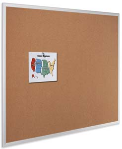 Quartet Cork Bulletin Board, Aluminum Finish Frame, Multiple Sizes Available