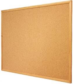 quartet cork bulletin board oak finish frame