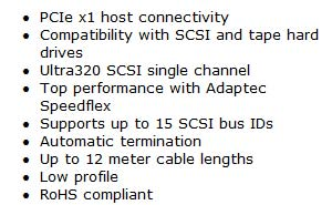 Adaptect SCSI Card 29320LPE Highlights