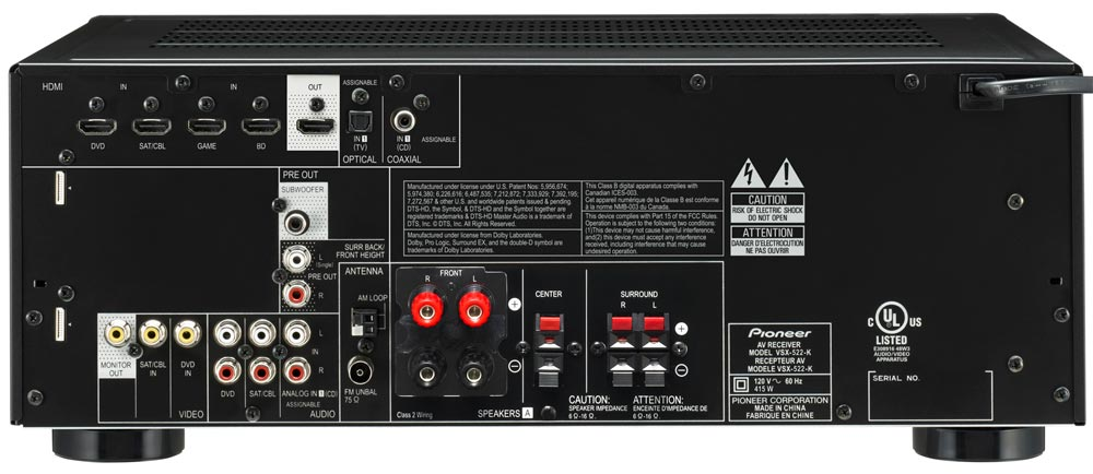 Amazon.com: Pioneer VSX-522-K 400W 5-Channel A/V Receiver, iPod & iPhone, Black (Discontinued by ...