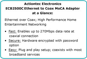 Actiontec Electronics ECB2500c Ethernet to Coax MoCA Adapter at a Glance